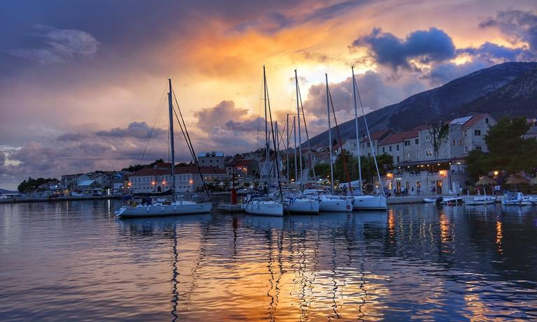 Sunset harbor in Croatia