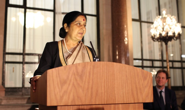 Swaraj was the first female spokesperson of a national political party in India