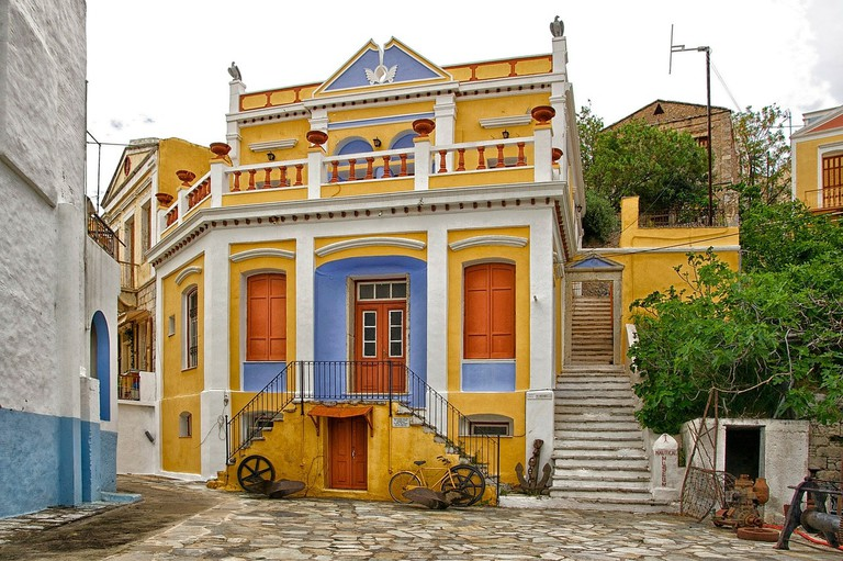 Typical colorful house in Chorio, Symi
