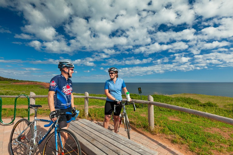 cyclists on bicycle trail, Gulf Shore Parkway, Prince Edward Island National Park
