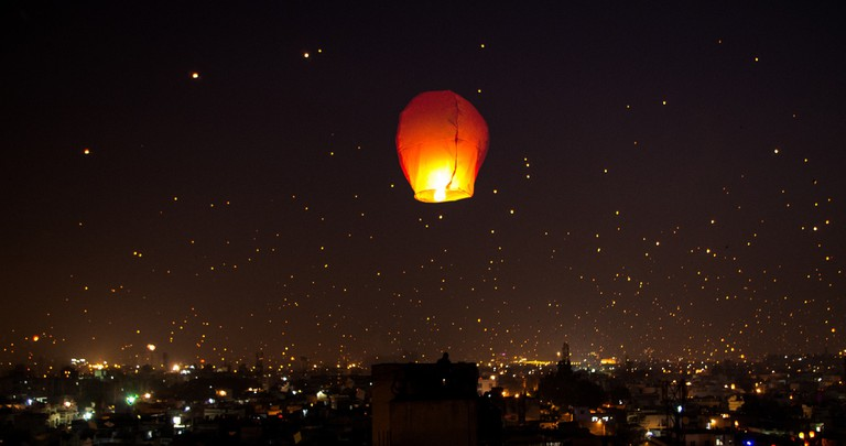 The city of Ahmedabad lit by Tukkals on the night of Uttarayan