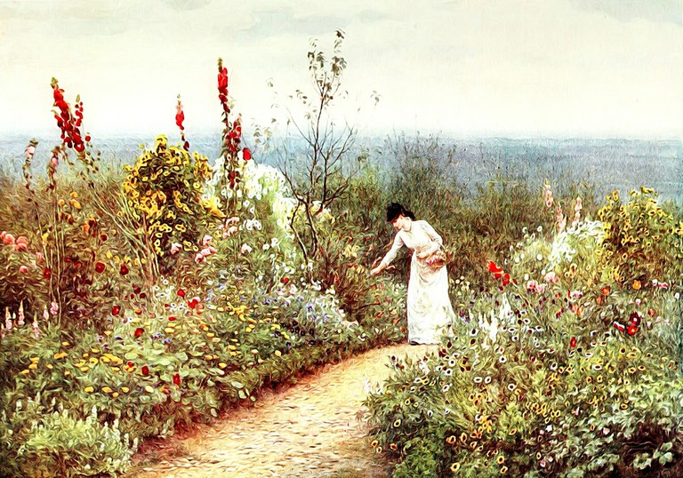 Victorian woman picking flowers