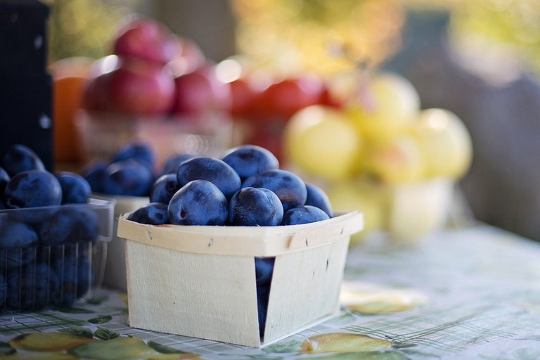 Blueberries in a small basket