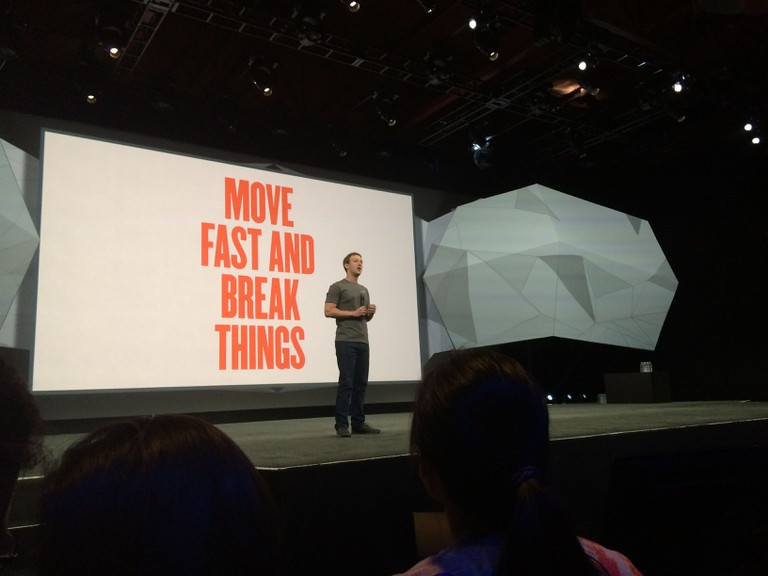 Facebook CEO Mark Zuckerberg on stage in 2014