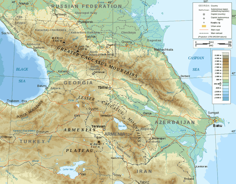 Where the Caucasus Mountains are located on the map | © Bourrichon/WikiCommons