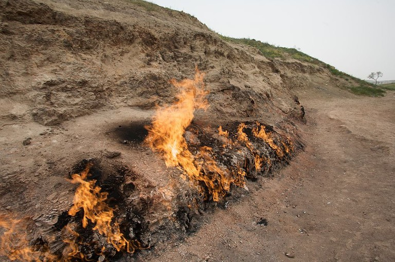 Flames at Yanar Dag, also known as Burning Mountain