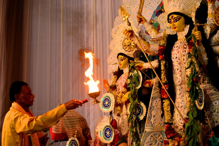 Goddess Durga being commemorated during Dussehra