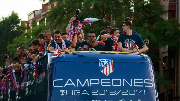 Atlético celebrating La Liga in 2014