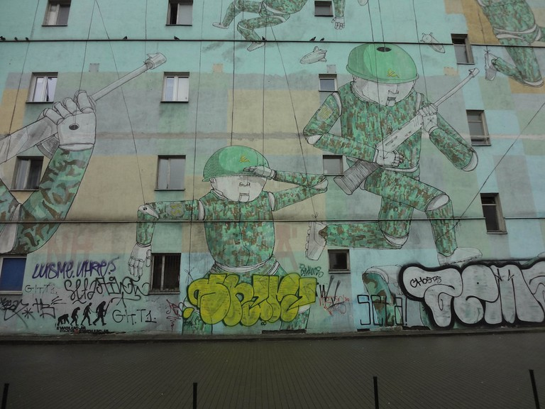 Soldier mural in Warsaw