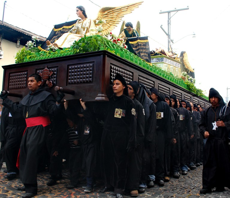 Religious float in Antigua for Semana Santa