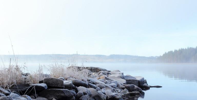 Shore of Lake Saimaa during autumn