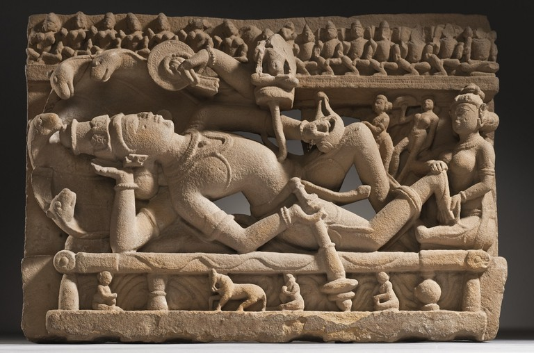 A sculpture of Lord Vishnu resting on Shesha at the Los Angeles County Museum of Art