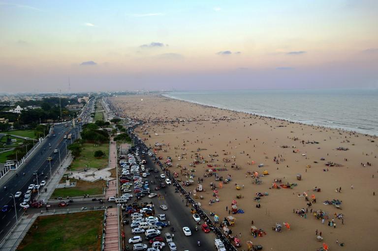 Crowds enjoying the sunset at Marina Beach in Chennai