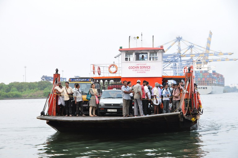 A jhankar (ro-ro ferry boat) on her way to Vypin island