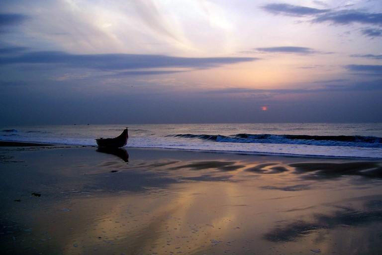 Sunset at Besant Nagar Beach in Chennai