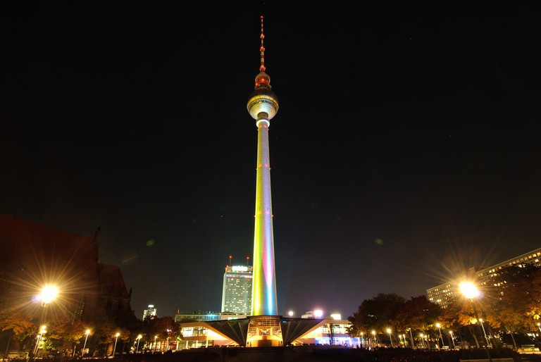 Berlin TV Tower during the Festival of Lights