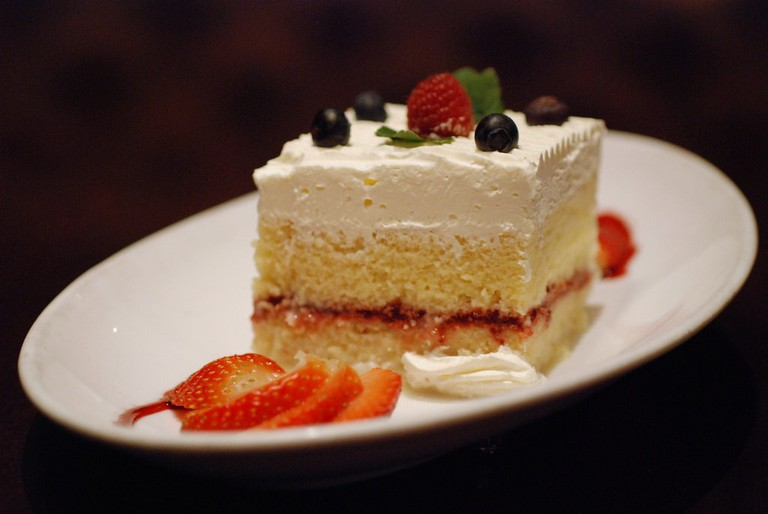 Tres leche with mixed berries