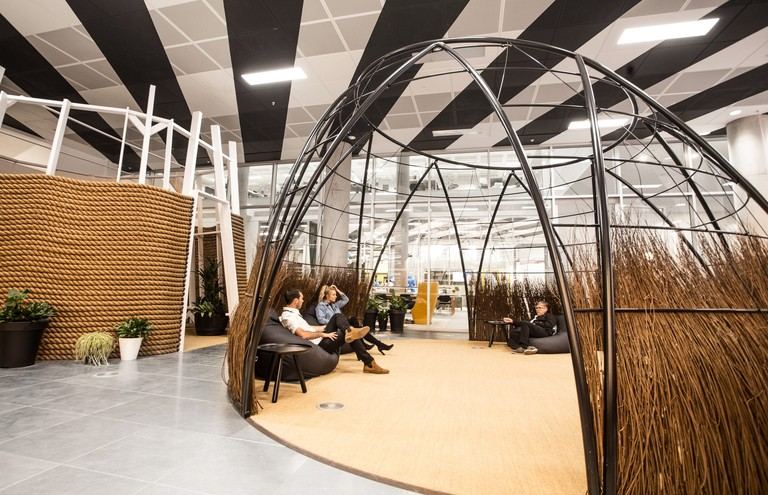 Huckletree West's willow hut and meditation garden