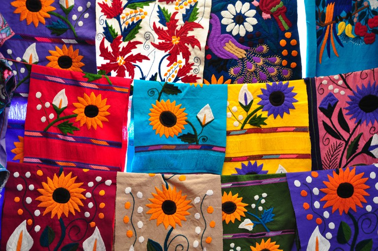 Table runners in a market in Chiapas, Mexico