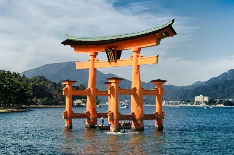 The floating torii gate of Itsukushima Shrine at Miyajima