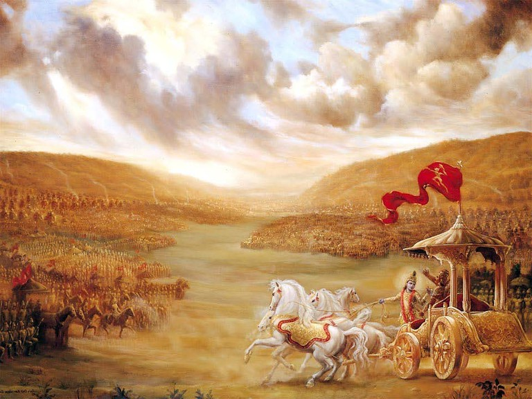 Lord Krishna driving Arjuna's chariot during the Mahabharata War