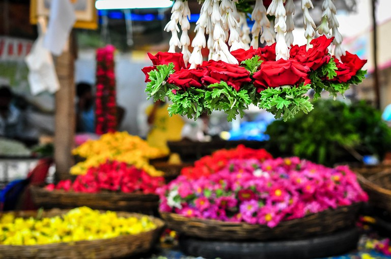 There are beautiful old flower markets in Bangalore city to explore