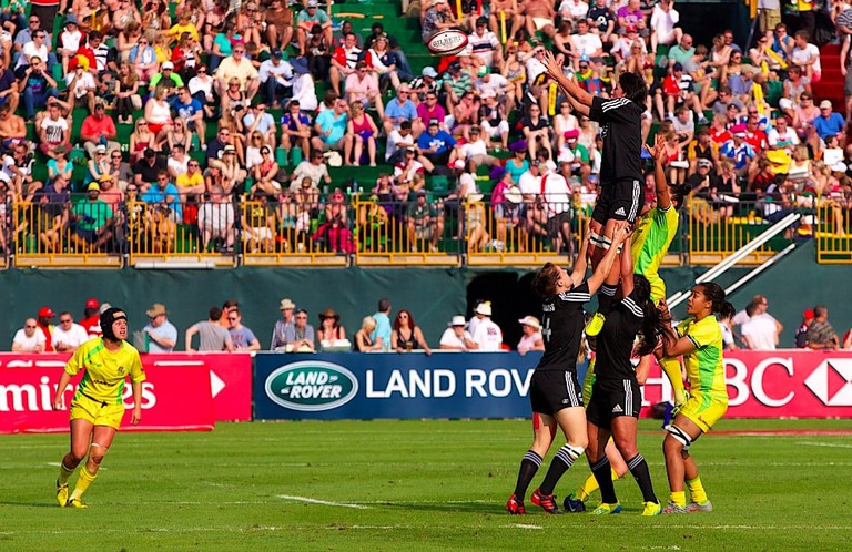Australia and New Zealand compete in the Women's Rugby Sevens
