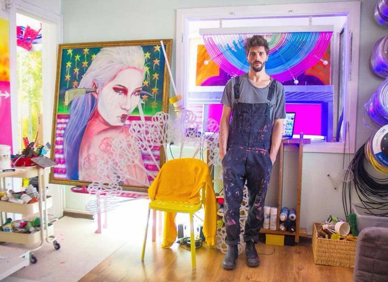 Grinberg in his studio