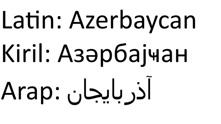 Examples of the Azeri writings in Latin, Cyrillic and Arabic | © Oyuncu Aykhan/WikiCommons