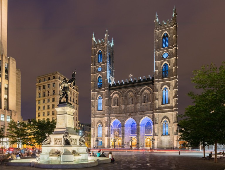 View of Montreal's Basilica from Place d'Armes