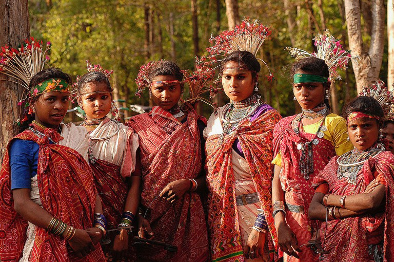 Young women of Baiga tribe in India