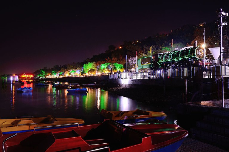 Colorful lighting at Boat Club, Upper Lake, Bhopal