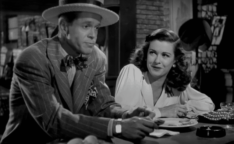 Johnny (Dan Duryea) and Kitty (Joan Bennett) scheming to rob Chris of his paintings in Scarlet Street