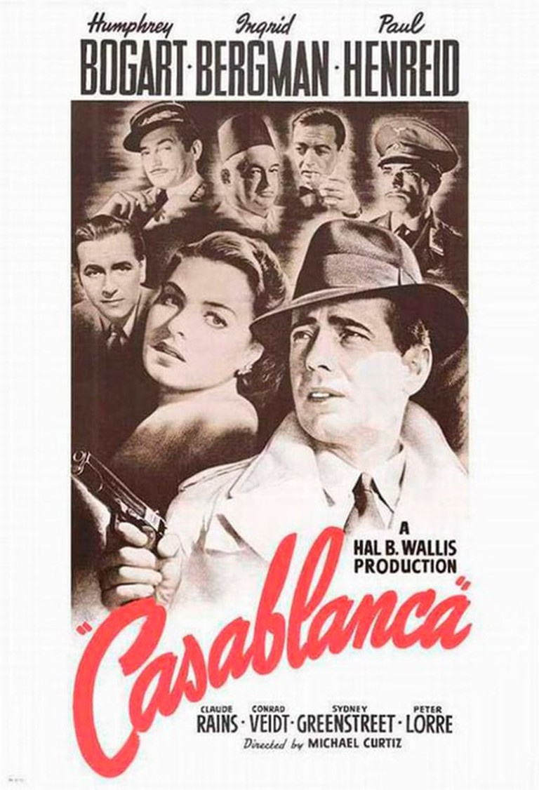 The movie poster for Casablanca which was aimed to change hearts and minds about U.S. involvement in WWII