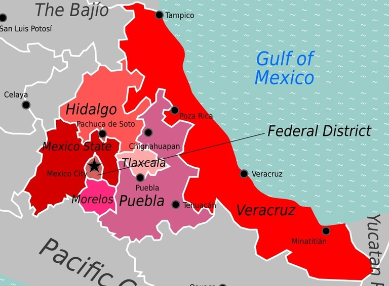 Central Mexico map