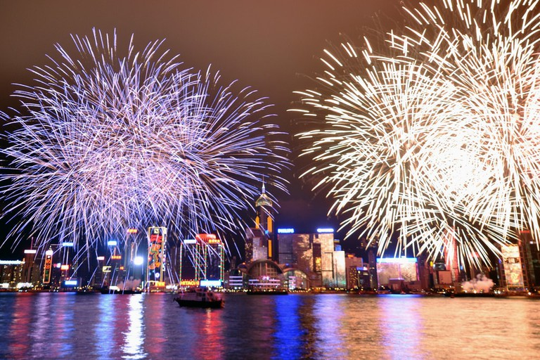 Chinese New Year fireworks light up the skies over Hong Kong's Victoria Harbour