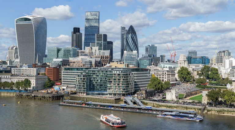 Skyline of the City of London including, from left to right, the Walkie-Talkie, the Cheesegrater and the Gherkin