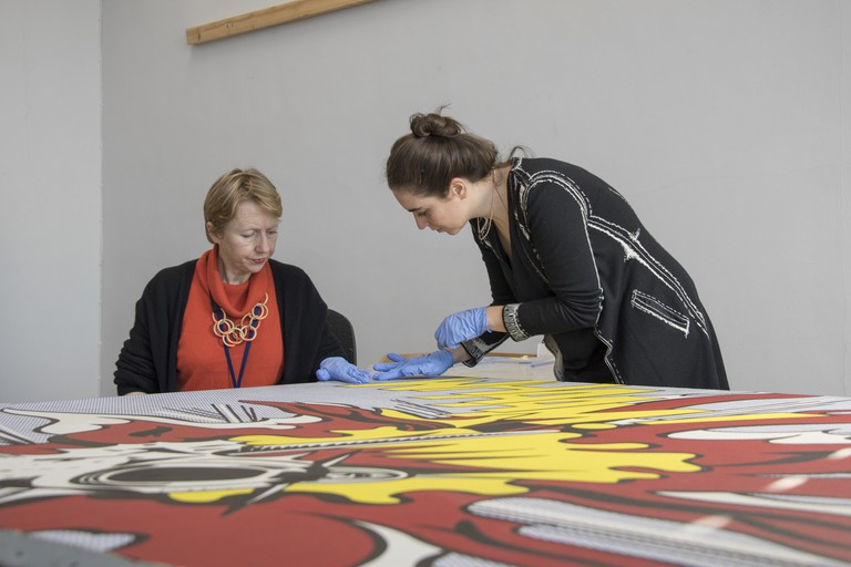 Conservation Team.Documenting treatment of the second (Lichtenstein's Whaam!) and third (Hesse's Addendudm) case studies as part of the Nanorestart Project.