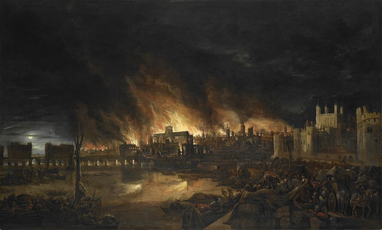 The Great Fire of London painted in the style of the Dutch School