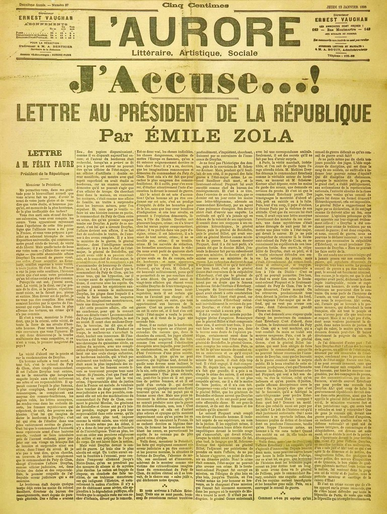 Zola's open letter accusing the French government of wrongdoing resulted in him fleeing France for London