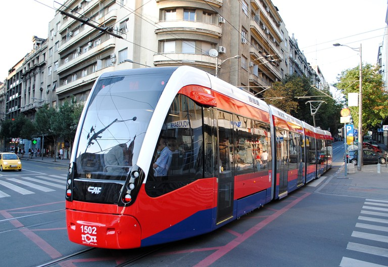 One of the few trams in the Serbian capital