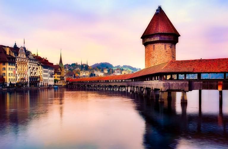 Lucerne's famous Kappelbrucke bridge