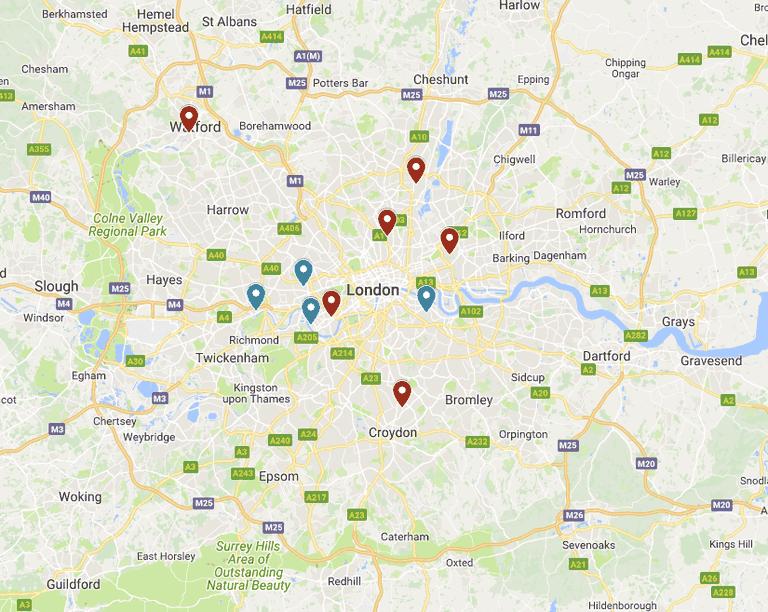 Map of London football teams
