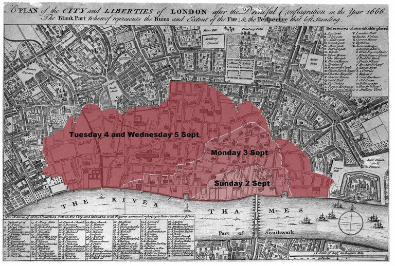 Map showing progress of fire, based on fire map of London, Wenceslaus Hollar, 1666 (c) Museum of London