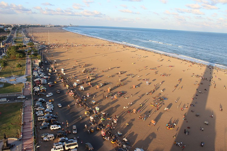 An aerial view of the Marina Beach from the lighthouse in Chennai