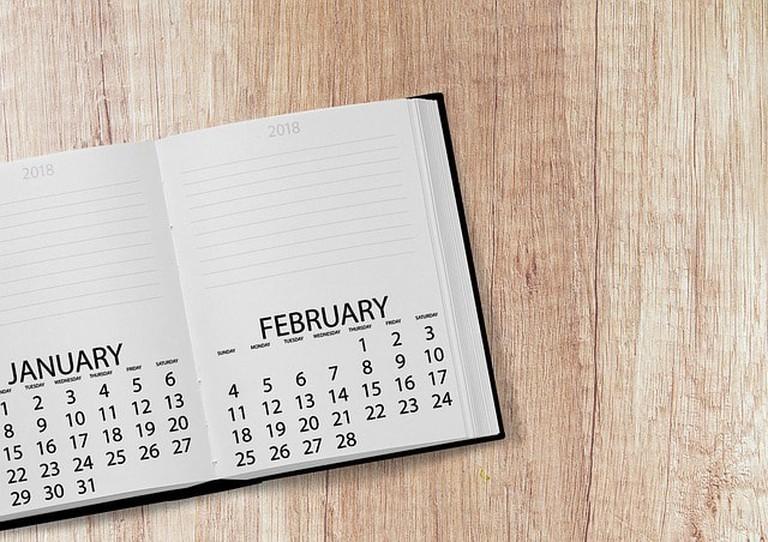 Date Calendar Book Week 2018 Day Year