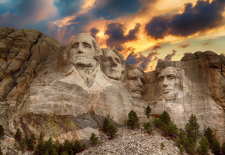 Mount Rushmore in South Dakota featuring sculptures of four former US presidents