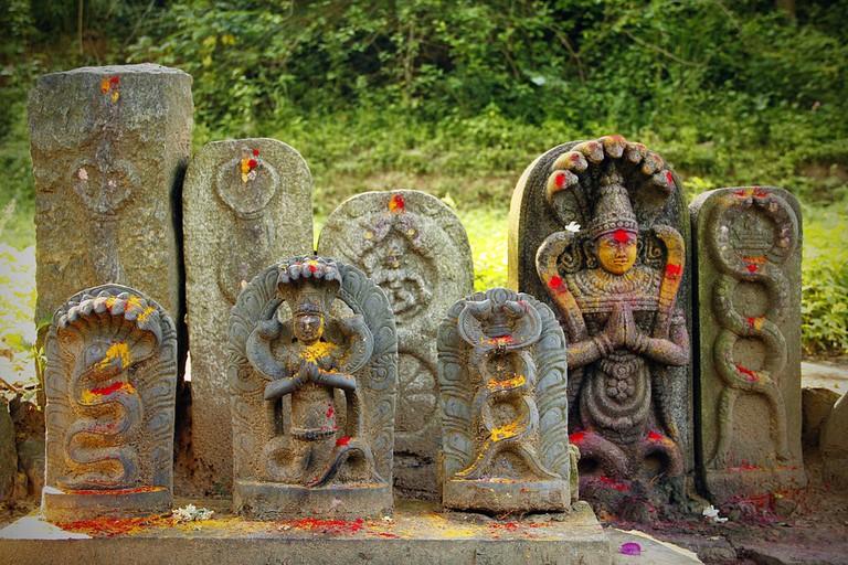 Idols depicting the Hindu snake deity Nagaraja