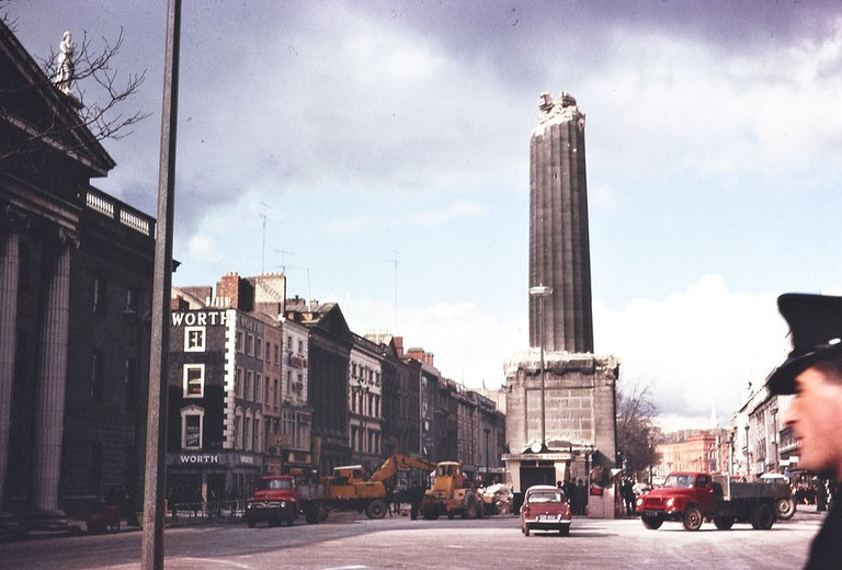 The base of Nelson's Pillar on O'Connell Street in Dublin after it was destroyed by a bomb in 1966