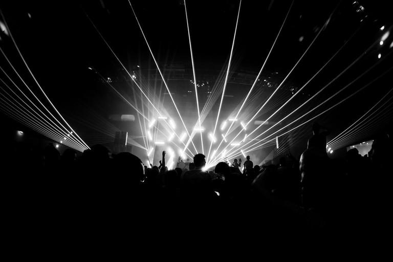 Techno rave in Berlin nightclub